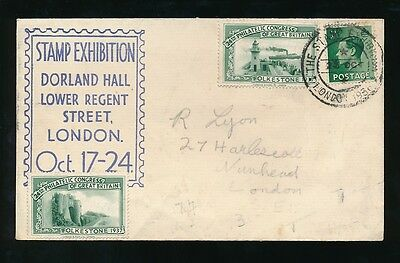 GB EXHIBITION 1937 CONGRESS LABELS on 1938 ILLUSTRATED ENVELOPE + KE8 1/2d