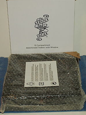 Service Ideas 12 Compartment Beechwood Teabox w/Window,NEW IN BOX