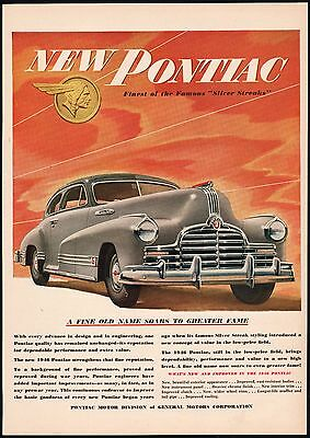 Vintage magazine ad PONTIAC 1946 picturing a Silver Streak car General Motors