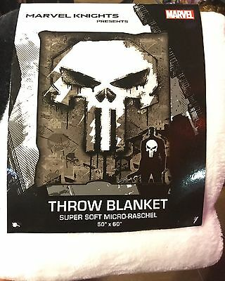 Marvel Knights THE PUNISHER SuperSoft Raschel Throw. Brand New 50 Inch X 60 In.