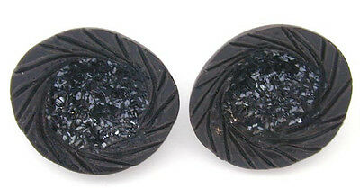 2 Vintage Wood Resin Buttons w' Glittery Broken Black Glass Centers Paris
