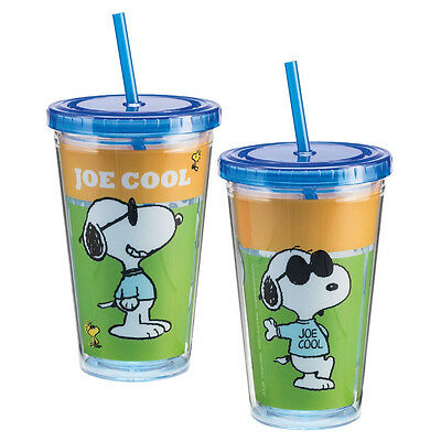Peanuts Snoopy as Joe Cool 18 oz Acrylic Travel Cup with Straw, NEW UNUSED