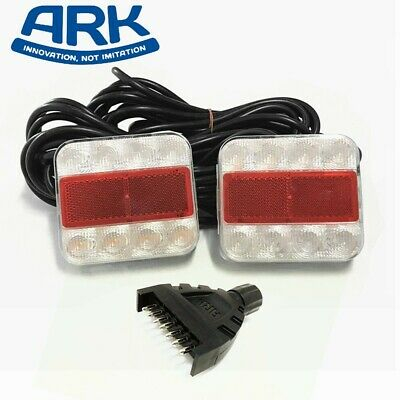 2x Ark Trailer LED Square Tail Lamp Number Plate Light Submersible 12V SLD106