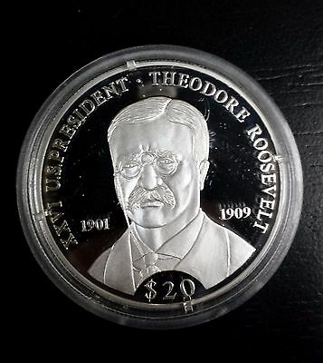 President Theodore Roosevelt 2000 $20 Dollar Proof .999 Pure Silver Liberia Coin