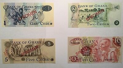 1976/77 Bank of Ghana Unc 1, 2, 5, 10 Cedi Notes Specimen Set Serial $ *0000063