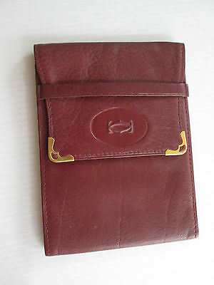 Les Must De Cartier Vintage Wallet Bilfold Bordeaux Leather 1950's Paris