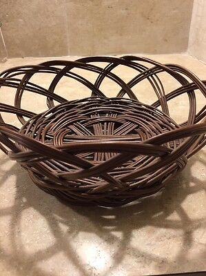 Antique Sewing Yarn Basket Wicker Brown Victorian Open Weave GREAT COND