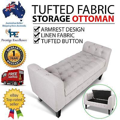 Linen Fabric Storage Ottoman Large Blanket Box Stool Chest Bench Bed Foot Tufted