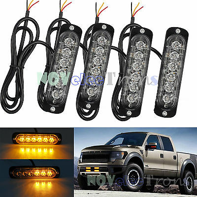 4PCS 12/24V AMBER 6 LED RECOVERY STROBE FLASHING Car Emergency Slim Light Lamp