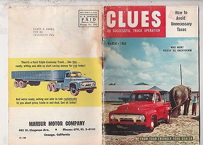 Clues To Successful Truck Operation From Ford,march 1954 Issue