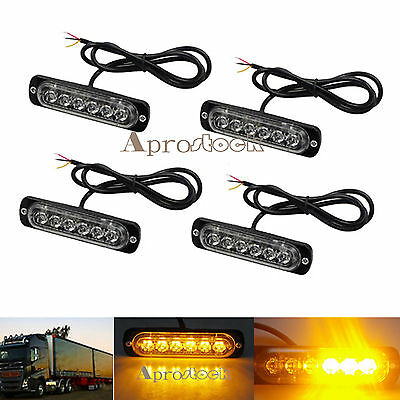 4x Amber Recovery Strobe 6 LED Flashing Light Grill Breakdown Beacon Lamp Car UK
