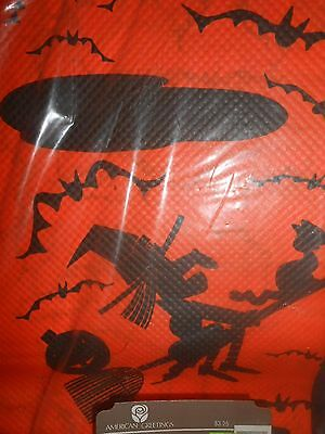 X~Vintage AM GTG Halloween Paper~Tablecloth~54x96~Black Cat Witch on Broom BATS