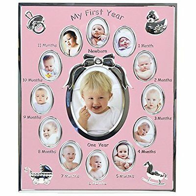 "Concepts Baby ""My First Picture Frames Year"" Pink Metal Picture Frame With Bow"