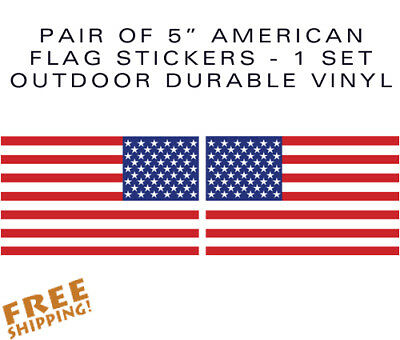 "American Flag 5in stickers-Pair of decals 5"" military USA US VINYL"