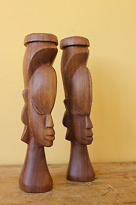 Vintage Mid Century Carved Tribal figures.