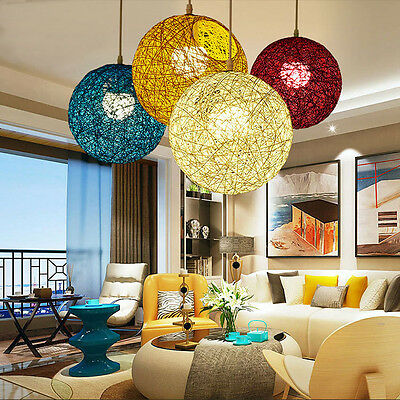 New 20-40cm Round Wicker Ceiling Pendant Light Shade Easy Fit Lampshade Lighting