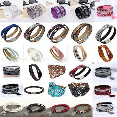 Fashion Women Men Punk Multilayer Wrap Leather Braided Cuff Bracelet Wristband