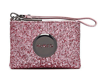 Mimco Tiny Sparks Hydrangea pink Glitter small pouch wallet purse wristlet new