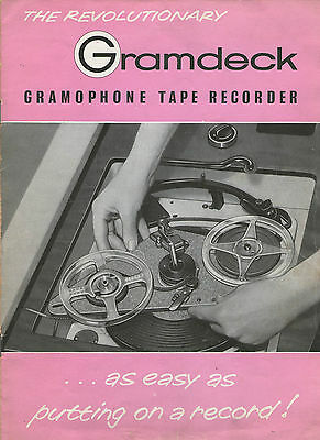 Gramdeck Vintage Reel To Reel Tape Recorder  Collection of Documents Circuit etc