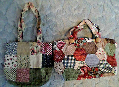 Lot Of Two Handmade Patchwork Purse/totes