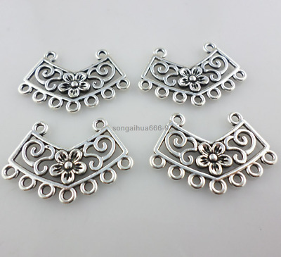 30pcs Links Connector Pendant Charm Tibetan Silver DIY Ring 24x24x2mm IW