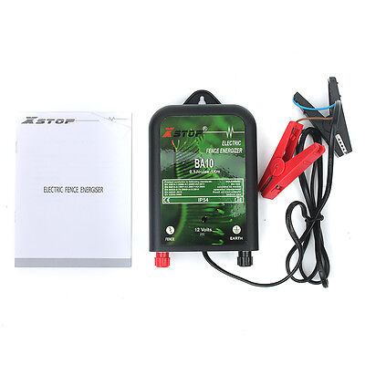 BA100 Electric Fence Energiser Unit 12V 1J 20Km of Fencing + Earth Stake Leads