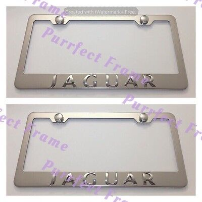 JAGUAR 3D EMBLEM Black Stainless Steel License Plate Frame Rust Free ...