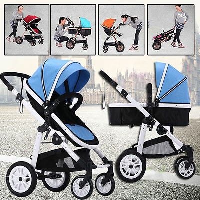 4 in1 Baby Toddler Pram Stroller Reversible Buggy Jogger With Bassinet Pushchair