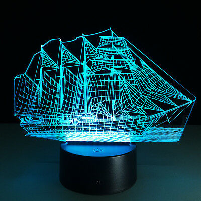 Sailboat 3D illusion LED Night Light 7 Color Touch Switch Table Desk Lamp Gift