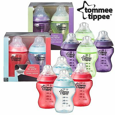 8 x Tommee Tippee Colour My World 260ml Decorated Baby Boy/Girl Feeding Bottles