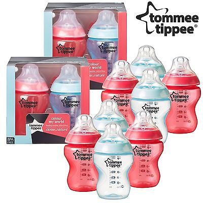 8x Tommee Tippee Colour My World 260ml Decorated Baby Boy Feeding Bottles - Red