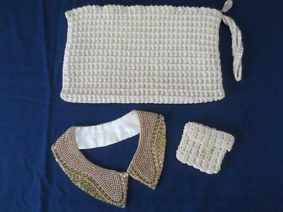 Vintage 1950's Beaded Collar & Handmade Clutch Purse with Change Purse