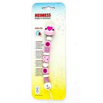 Heimess Clip On Pink Spot & Stripe Soother Holder / Dummy Chain (732420)