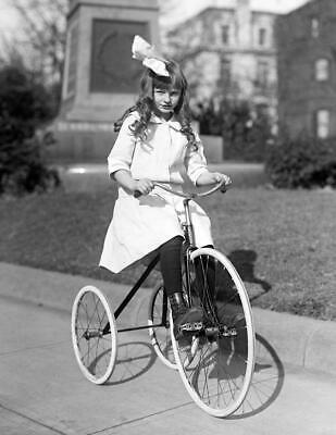 "1913-1917 Girl on a Tricycle Vintage Photograph 8.5"" x 11"" Reprint"