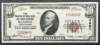 $10 Series 1929 National Currency / National Bank Of Reading, Pa