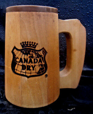 2 SAME Canada Dry (Registered Trademark) Wooden Soda Mugs w/Plastic Cup Lining