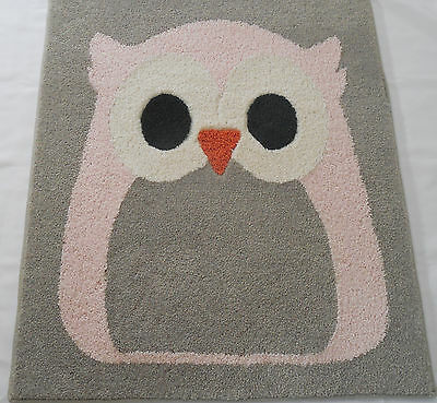 Pink Grey White Owl Rug Hand Inlaid Custom Rug Plush Carpet 30x36 Nursery
