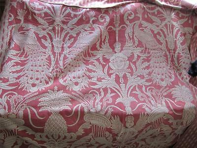 Antique European Red White Coverlet W/angels/peacocks