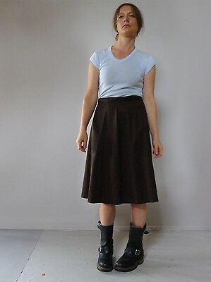 Vintage retro true 70s unused 12 M brown flared midi skirt NOS