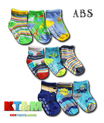 New Baby Toddler Boys ABS Anti Non Slip Socks 3 Pairs Size 9 months to 2.5 years