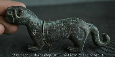 10cm Antique Chinese Bronze Dynasty Tiger Sign Animal Ancient Sculpture Statue