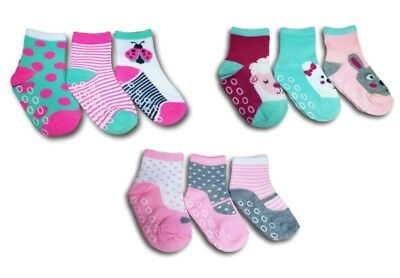 New Baby Toddler Girls ABS Anti Non Slip Socks 3Pairs Size 9 months to 2.5 years