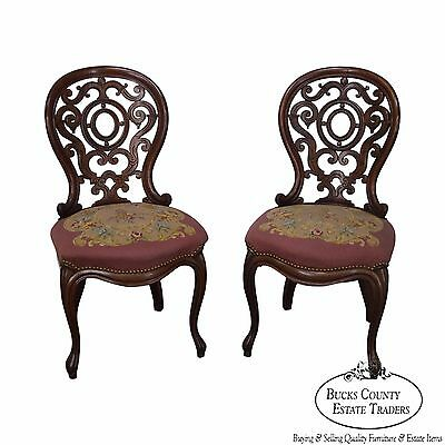 Antique Pair of Victorian Walnut Carved Back Rococo Side Chairs