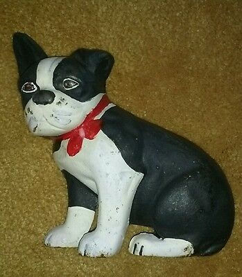 """Vintage Hubley Marked """"A"""" Cast Iron Sitting Boston Bull Terrier Doorstop Wedge"""