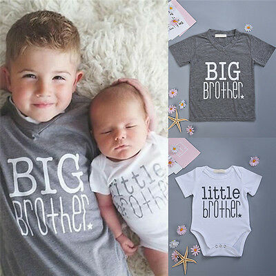 Little/Big Brother Baby Boy Romper Bodysuit T-shirt Tops Family Matching Outfits