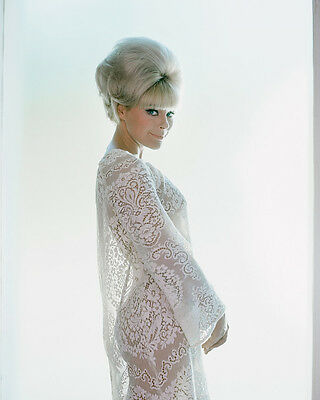 Elke Sommer Beautiful Secy Pose In See-Thru White Dress 1967 8X10 Photo