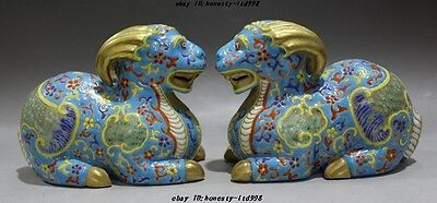 """6""""Marked Old chinese palace dynasty wucai porcelain sheep goat beast statue pair"""