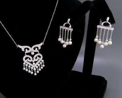 14K White Gold / Pearl / Diamond Necklace and Earrings Set Perfect Wedding Jewel