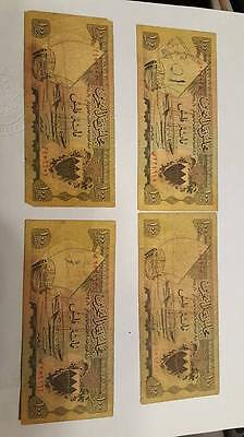 BAHRAIN Set 4 notes * 100 Fils P1 , First Issue , Different Prefixes