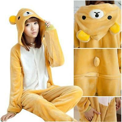 Rilakkuma Adult Pajamas Kigurumi Cosplay Costume Animal Onesie Sleepwear Suit..